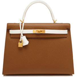 HERMES - White handle & Belt Kelly Bag