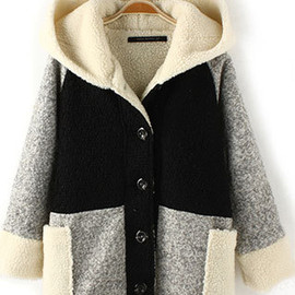fashion - Loose Casual Single Breast Hooded Stylish Splicing Large Size Thicken Outercoat