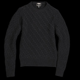 TODD SNYDER - DIAGONAL STITCH CREW SWEATER IN BLACK