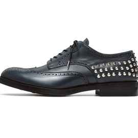uniform experiment - WING TIP HEEL STUDS SHOES/NAVY x SILVER (SILVER STUDS)