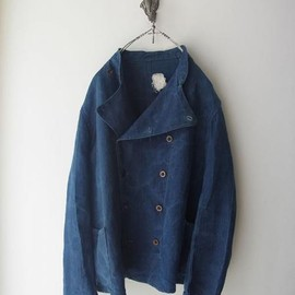 LILY1ST VINTAGE - 1900-1920's antique indigo linen riders style double jacket