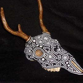 Huichol Indian bead art over a cast resin copy of a deer skull