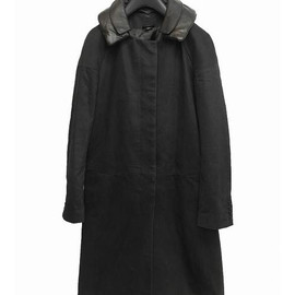 helmut lang - coat with leather collar and rain hood