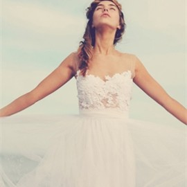 Dreamy A-line Sheer Neck Tulle Lace Floor Length Wedding Dress WD1225