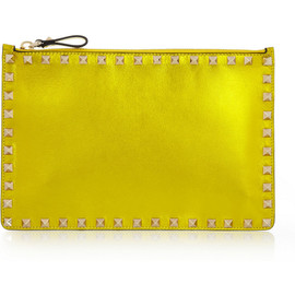 VALENTINO - Studded metallic leather pouch
