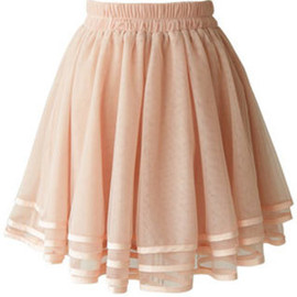 fashion - Image of [grzxy6601252]Elasticated  Waist Layered Pleated Flared Mini Tulle Skirt