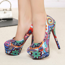 Sweet Colorful Flowers Print Platform Sexy High Stiletto Heel Shoes
