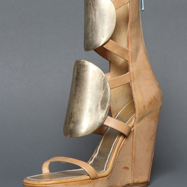 Rick Owens - HIGH WEDGE 10CM SHOES WITH FRONTAL APPLICATION IN COPPER