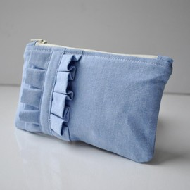 Luulla - Vintage shirting mini ruffle coin purse.