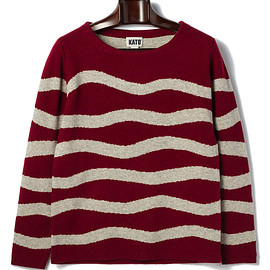 KATO' - wave border round neck knit
