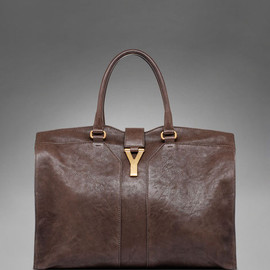 Yves Saint Laurent - Large YSL Cabas Chyc in Dark Brown Leather