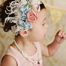 Cozette Couture - mademoiselle silk bow rosette headband with feathers