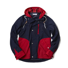 HEAD PORTER PLUS - NYLON HOODIE NAVY/RED