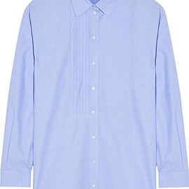 Cédric Charlier - Oversized pintucked cotton-chambray shirt