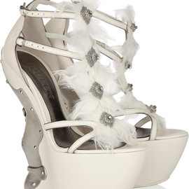 Alexander McQueen - Metal-plated leather platform sandals