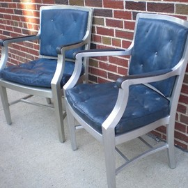 CITY FOUNDRY - Set of 18, vintage 1930′s, aluminum chairs with tufted, royal blue vinyl upholstery.