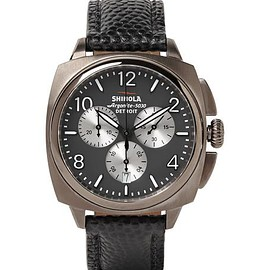 Shinola - The Brakeman 40mm Stainless Steel and Pebble-Grain Leather Chronograph Watch