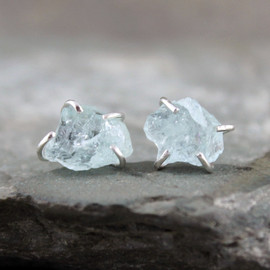 ASecondTime - Uncut Raw Rough Aquamarine Earrings