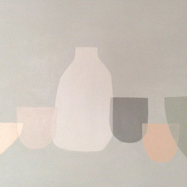 alessandra taccia - six vessels on grey acrylic on board 55x65 cm 2016 private collection
