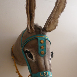 Personalised Seaside Donkey head- fabric taxidermy