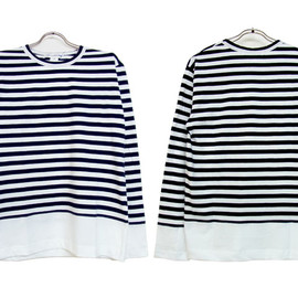 COMME des GARÇONS SHIRT - cotton jersey border × cotton jersey chine long t-shirt