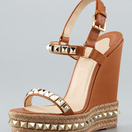Christian Louboutin - Cataclou Espadrille Wedge, Brown