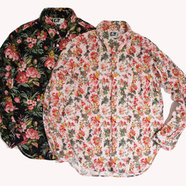 Engineered Garments - Tab Collar Shirt,Pink Floral