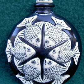 ADAM BINDER - Black Marble FISH Perfume Bottle
