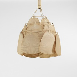 INGO MAURER - Uchiwa fan chandelier  Germany, c. 1970 bamboo, paper, brass, string 28 dia x 16 h inches