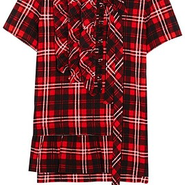 Marc Jacobs - Ruffled plaid cotton-jersey top