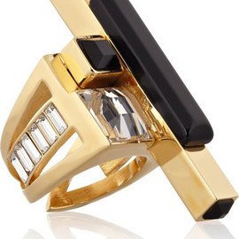 EMILIO PUCCI - Gold-tone crystal and resin ring