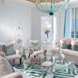 decoholic - living room white turquoise color scheme