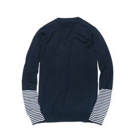 uniform experiment - BORDER SLEEVE CREW NECK KNIT