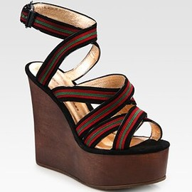 MARC BY MARC JACOBS - Suede & Leather Contrast Stripe Wedge Sandals