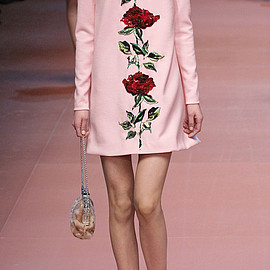 DOLCE&GABBANA - FW2015 Double Crepe Rose Sequin Embroidered High Neck Dress
