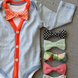 Trendy Baby Boy - Cardigan and Bow Tie Onesie Set
