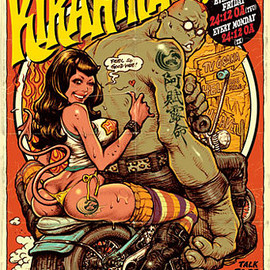 Rockin'Jelly Bean - Rockin Jelly Bean is a Japanese  artist whos works mostly revolve around naked or scantily dressed   babes. Although somewhat vulgar I totally dig his work; the colours, the  vintage feel and style, the monsters and motorbikes.