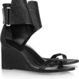 KARL - Woven patent-leather wedge sandals