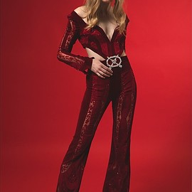 Raisa & Vanessa - Raisa & Vanessa Long Cut Out Silk Velvet & Lace Jumpsuit
