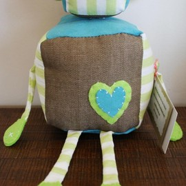 Luulla - BOObeloobie Reu the Robot in Tan denim, blue suede and green and white striped cotton