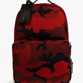 VALENTINO - Men's Red Camouflage Canvas Backpack