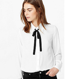 Mango - Contrast Tie-Neck Blouse, Natural White