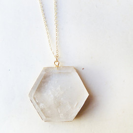 ArrowAndEra on Etsy - T E S L A - natural crystal quartz geometric hexagon pendant edged in gold