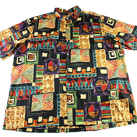 Tori Richard - Tori Richard Abstract Print Black Cotton Lawn Hawaiian Shirt Mens Size 2XLT