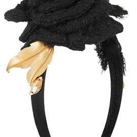 DOLCE&GABBANA - Floral-appliquéd silk-blend satin headband