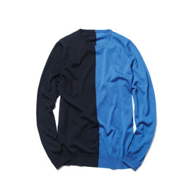 SOPHNET. - ANTIPILING WOOL CREW NECK KNIT 2 TONE PANEL/navy×blue