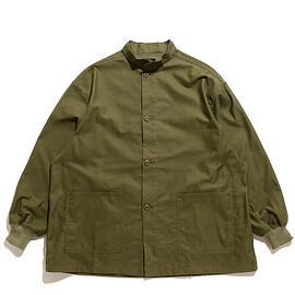 NEEDLES - Stand Collar Army Shirt-Cotton Back Sateen-Olive