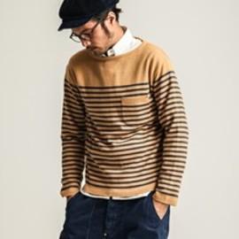 Anachronorm - Border Boat Neck L/S Sweaterイエロー