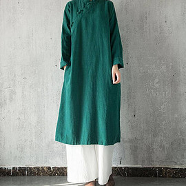Women gown - spring Stand collar Cotton and linen large size dress Women gown In dark green/ dark blue/ red