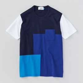ALOYE - Patchwork - Color Block S/S T-shirt (Navy-Blue)